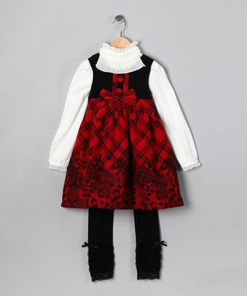 Red & Black Plaid Dress Set - Toddler & Girls