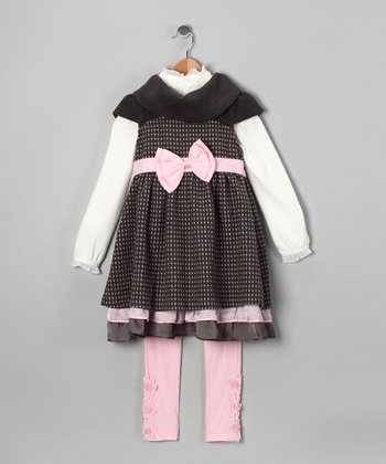 Charcoal Bow Dress Set - Toddler & Girls