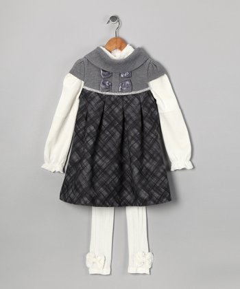 Gray Plaid Dress Set - Toddler & Girls