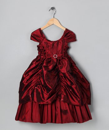 Burgundy Sequin Flower Pickup Dress - Toddler & Girls