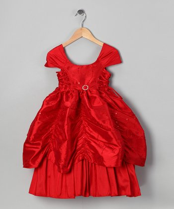 Red Sequin Flower Pickup Dress - Toddler & Girls