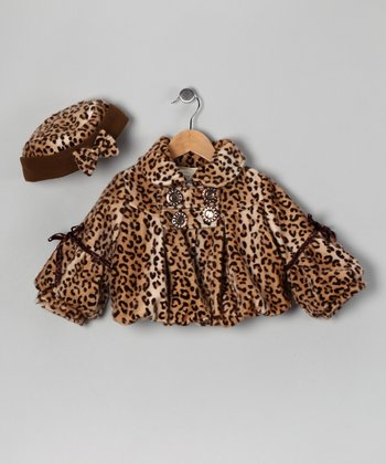 Brown Leopard Swing Coat & Hat - Toddler & Girls