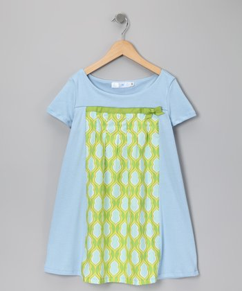 Blue & Lime Pleat Dress - Infant, Toddler & Girls