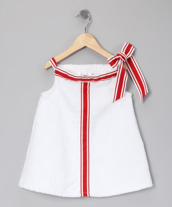 Birdie Blu White & Red Ribbon Dress - Toddler & Girls