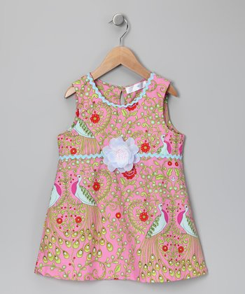 Pink Peacock Dress - Toddler & Girls