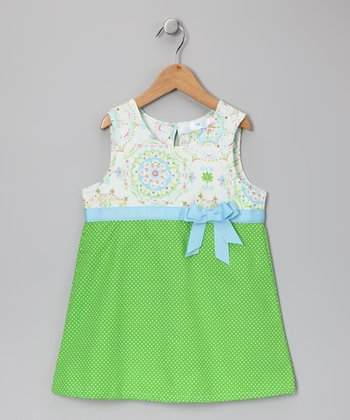 White & Lime Polka Dot Flower Dress - Toddler & Girls