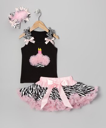Light Pink Zebra Two Candles Pettiskirt Set - Infant & Toddler