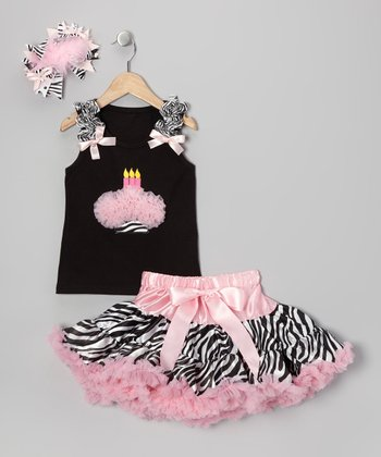 Light Pink Zebra Three Candles Pettiskirt Set - Toddler & Girls