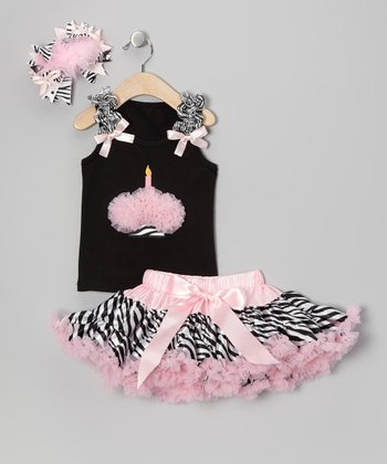 Light Pink Zebra One Candle Pettiskirt Set - Infant & Toddler
