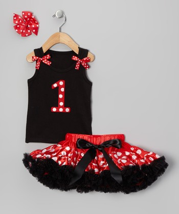Red & Black Polka Dot '1' Pettiskirt Set - Infant & Toddler