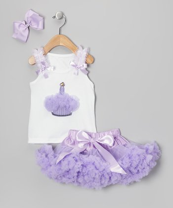 Lavender Cupcake Pettiskirt Set - Infant & Toddler