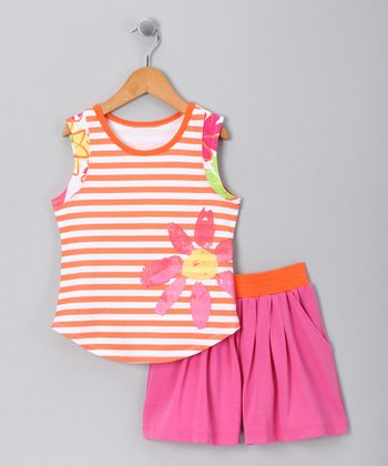 Pink Stripe Tank & Skort - Toddler & Girls