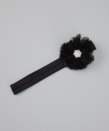 Black Shabby Flower Headband
