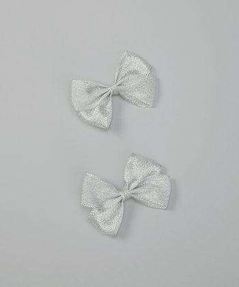 Silver Sparkle Bow Clip Set