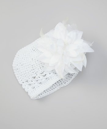 White Feather Flower Beanie