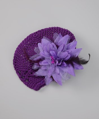 Purple Feather Flower Beanie