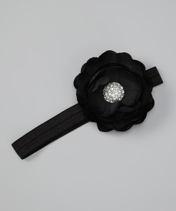 Black Silk Flower Headband