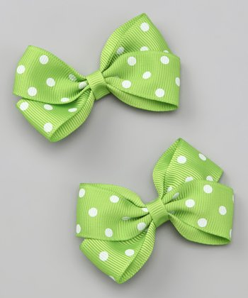 Lime Polka Dot Clip Set