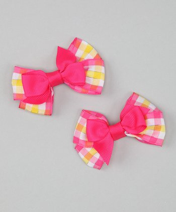 Pink & Yellow Plaid Mini Bow Clip - Set of Two