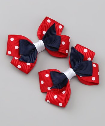 Navy & Red Polka Dot Silly Stack Clip Set