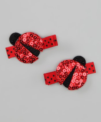 Red Sequin Ladybug Clip Set