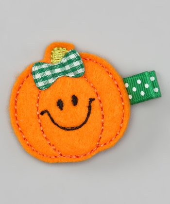 Orange Pumpkin Felt Clip