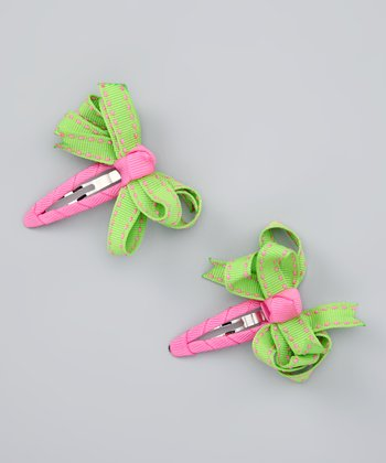 Lime & Pink Loopy Snap Clip Set