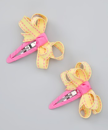 Yellow & Pink Loopy Snap Clip Set