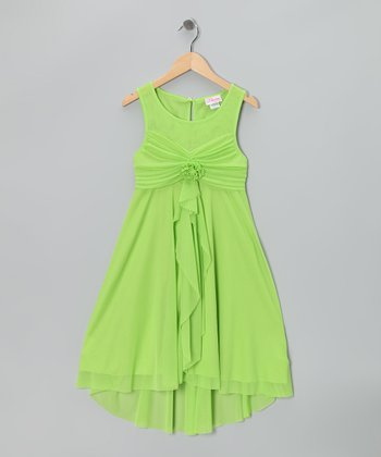 Green Empire-Waist Dress - Girls Plus
