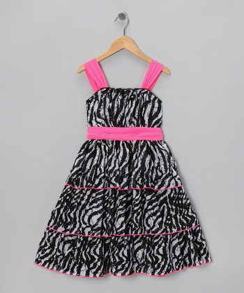 Black & Pink Zebra Dress - Girls