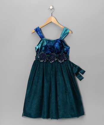 Blue & Green Velvet Dress