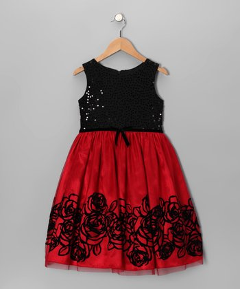 Black & Red Sequin Dress