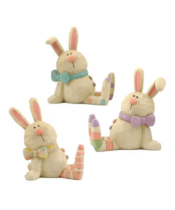 Polka Dot & Stripe Easter Bunny Collectible Set