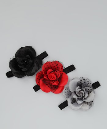 Black, Red & Gray Silk Rose Headband Set