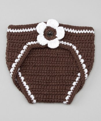 Brown & White Football Flower Diaper Cover - Infant
