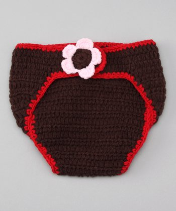 Brown & Red Robin Flower Diaper Cover - Infant