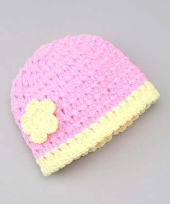 Pink & Yellow Flower Crocheted Beanie