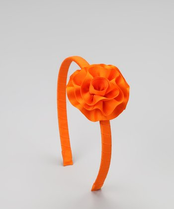 Orange Cabbage Rose Headband