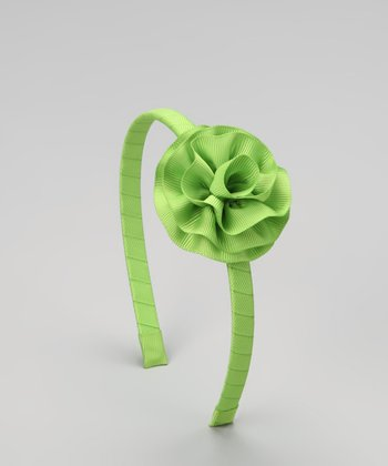 Lime Cabbage Rose Headband