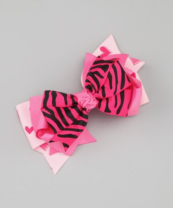 Hot Pink Zebra Bow Clip