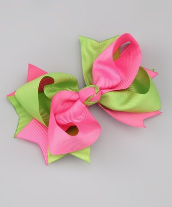Pink & Lime Twist Bow Clip