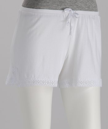 White Drawstring Organic Lounge Shorts
