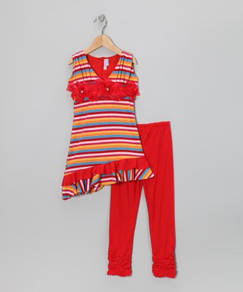 Red Stripe Rosette Tunic & Leggings - Toddler