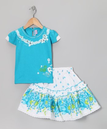 Blue Curl Blue Floral Top & Skirt - Girls