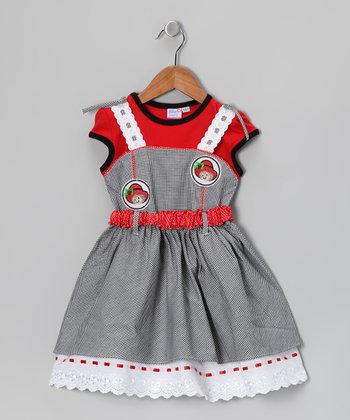 Gray & Red Layered Dress - Girls