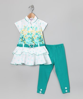 Aqua Flower Belted Tunic & Leggings - Girls