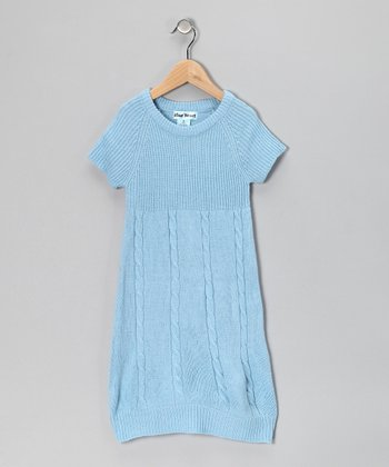 Light Blue Cable-Knit Dress - Infant