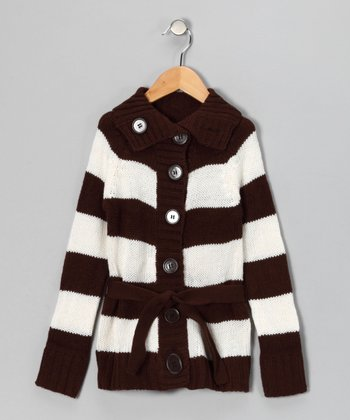 Brown Stripe Cardigan - Toddler & Girls