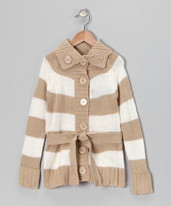 Khaki Stripe Cardigan - Girls