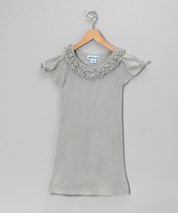 Gray Bow Ruffle Dress - Infant & Girls